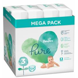 Pampers Pure Protection S3, 124 ks (4 x 31 ks), 6-10 kg
